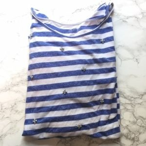 Loft Blue and White Striped Embellished Tee